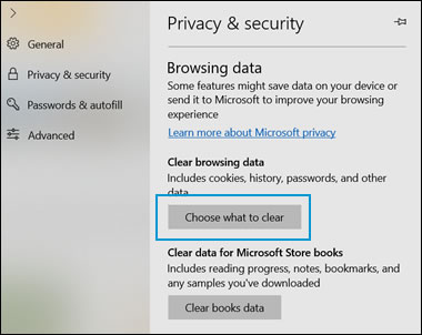 The Privacy & security window with Choose what to clear highlighted