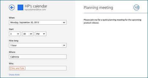 Creating a new calendar item