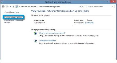 Configuración del adaptador en el Centro de redes y recursos compartidos