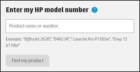 Introducir el número de modelo de mi HP, con el campo donde debe introducirse