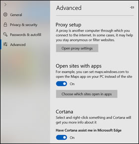 The Advanced settings window