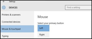 Changing the mouse buttons