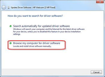 Image of update driver software window with selections highlighted