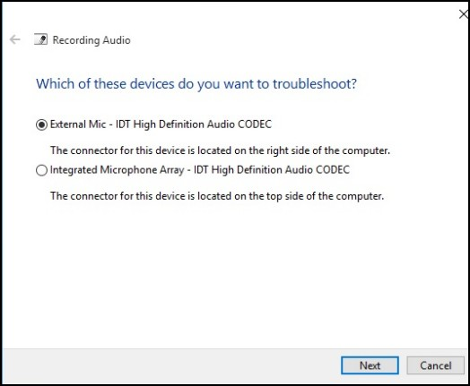 Select device to troubleshoot