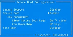 Secure Boot Configuration menu