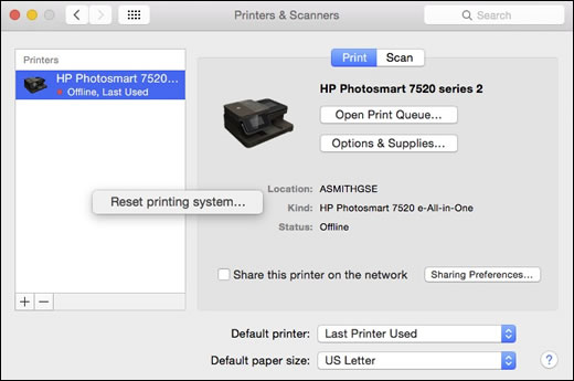 Reinicio del sistema de impresión
