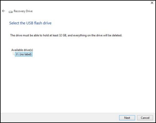 Select the USB flash drive screen with a USB drive selected