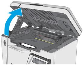 Apertura del gruppo scanner e del coperchio superiore.