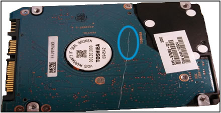 Example of HDD PCB damage