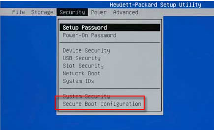 Secure Boot Configuration selection in the Security window