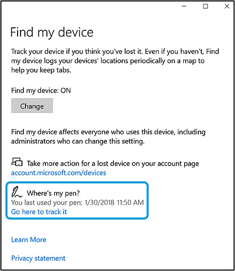 Where's my pen?  on the Find my device window