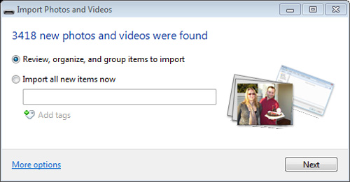 Image of Import Photos and Videos window