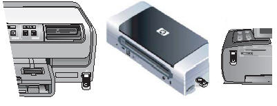 Examples of inserting the HP Bluetooth adapter into the USB or Pictbridge port on the front or side of the printer