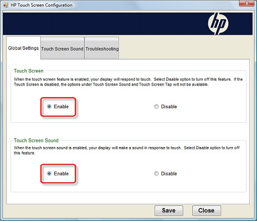 how to turn touch screen on hp envy