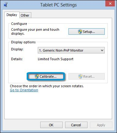 Calibrate selection in the Tablet PC Settings window