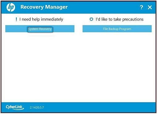 System Recovery (HP Recovery Manager Fall 2014 and later)