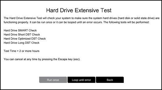 Ejecución de la prueba exhaustiva de la unidad de disco duro