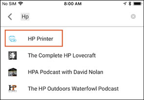 Searching for the HP Printer app