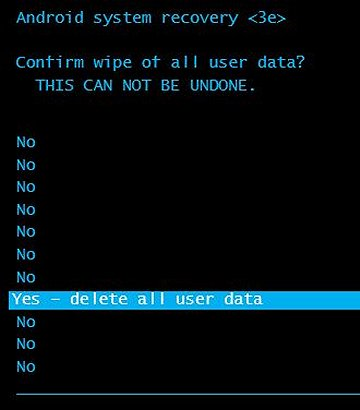 Confirm wipe of all user data