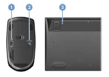 Location of the mouse On/Off switch and the Connect buttons on the mouse and the keyboard