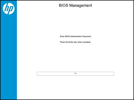 BIOS Management: Enter BIOS Administrator Password