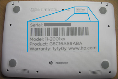 Notebook computer label enlarged to show product information