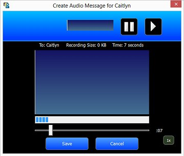 Image of an audio message being recorded