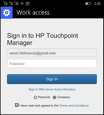 Sign in to HP Touchpoint Manager screen
