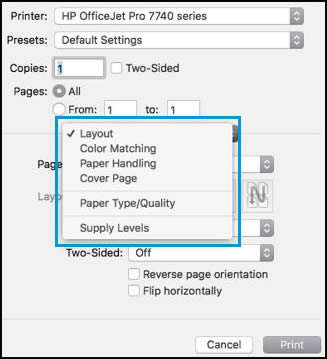 Print Settings Pop Up Menu Open With Layout Selected