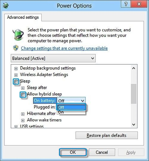 Notebook computers: Allow hybrid sleep selection in the Power Options window