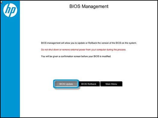 Click BIOS Update in the BIOS Management window
