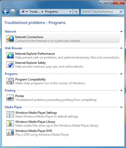 Troubleshoot problems - Programs window