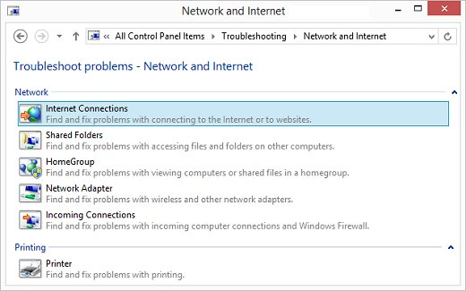 Internet Connections selection highlighted in the Network and Internet window