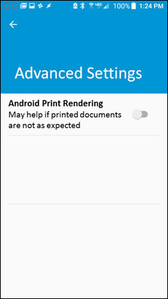 Turning on the Android Print Rendering setting.