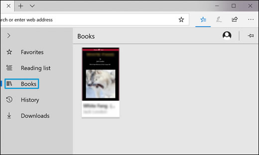 Clicking the Books icon