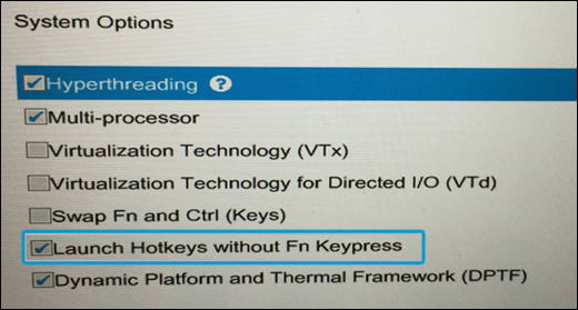 Selecting Launch Hotkeys without Fn Keypress