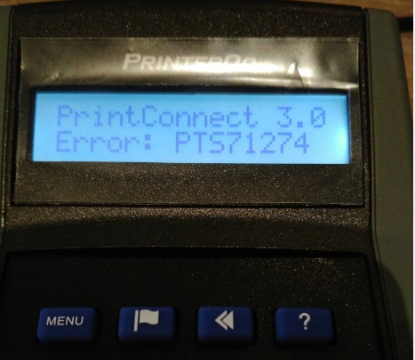 Error: PTS71274 displayed on the PrinterOn PrintConnect device