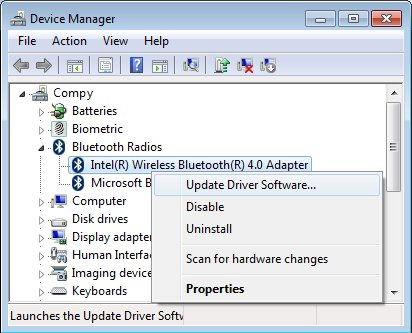 Device Manager window with a Update driver software selected for an Intel Bluetooth adapter listing.