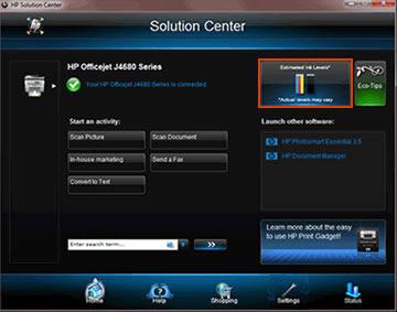Ejemplo de niveles estimados de tinta en Centro de soluciones HP