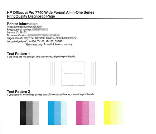 Image: Example of the Print Quality Diagnostic Page