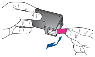 Illustration of removing the protective tape with the pink pull tab