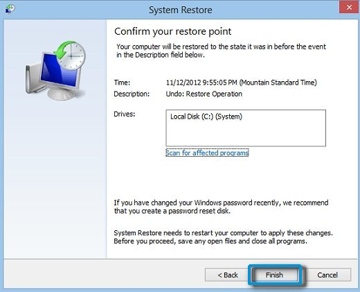 Confirm your restore point screen, with Finish selected