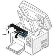 Image shows removing the toner cartridge