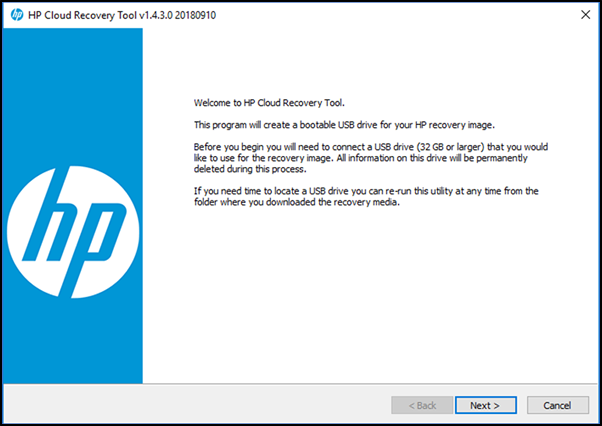 HP Cloud Recovery Tool Welcome page