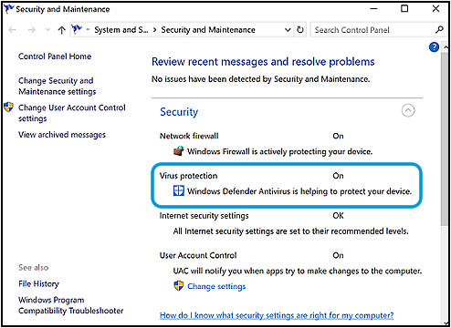 Security section of the Action Center (Windows 10)
