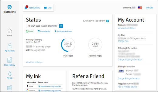 Image of the HP Instant Ink account page