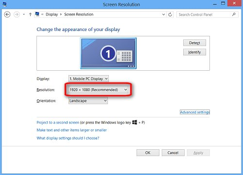 Image of the Screen Resolution window with the recommended resolution highlighted.