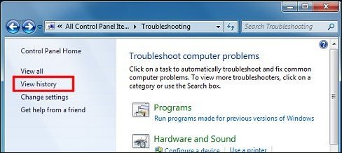 View history Troubleshooting Control Panel option