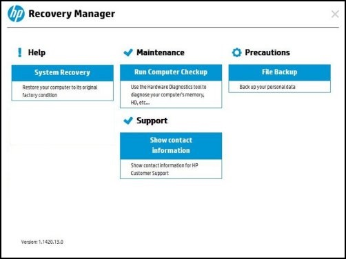Image: Recovery Manager using user-created recovery discs