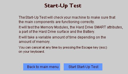 Image of Start-Up Test screen